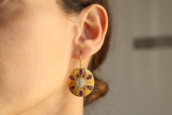 Disc Earrings, 22K Gold + Cabochon Aquamarines + Rhodelite Garnet, Jewelry, Darlene de Sedle, Mona Moore