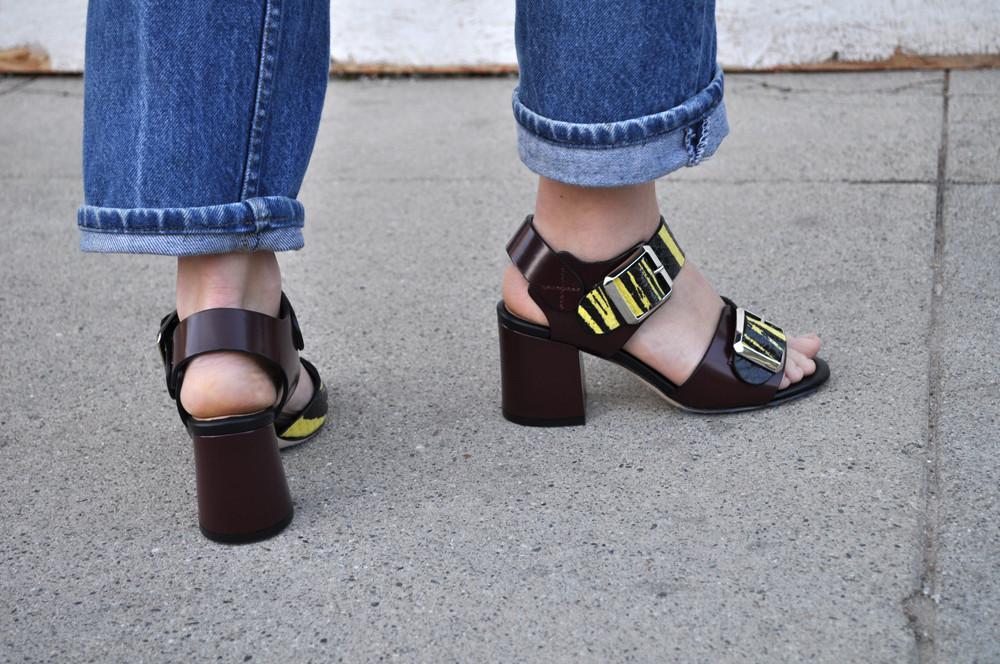 Ida Mid Heel, Yellow and Bordeaux