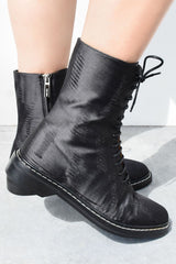 The Row Size 39, Fara Lace Up Ankle Boot, Gunmetal Boots