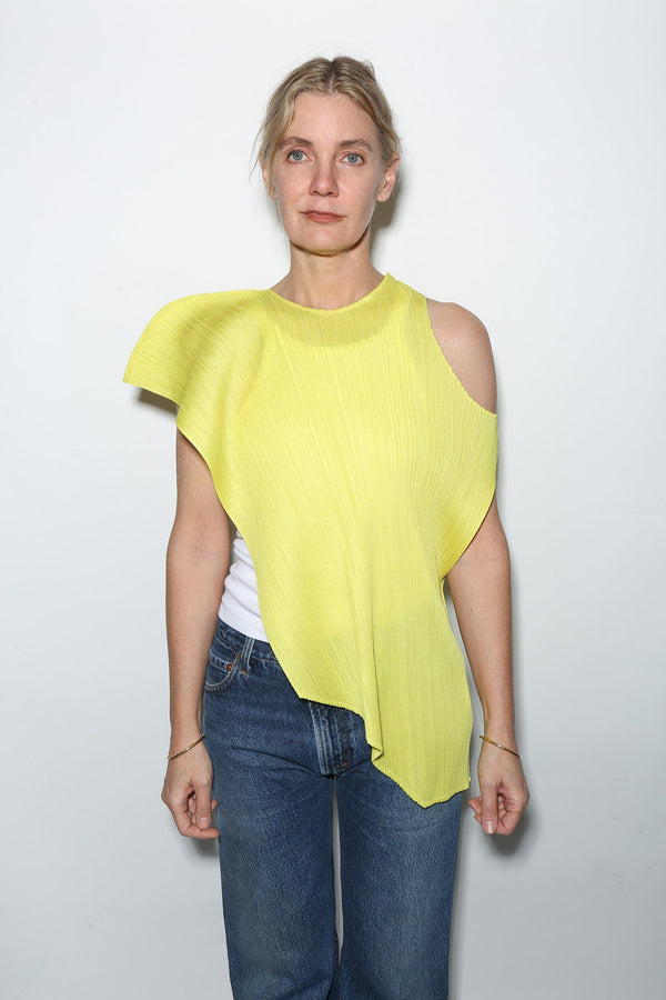 Issey Miyake Pleated Cross Grain Top, Neon Yellow Tops