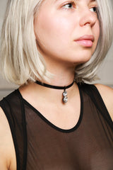 Joomi Lim Black Leather Choker, Single Crystal Charm