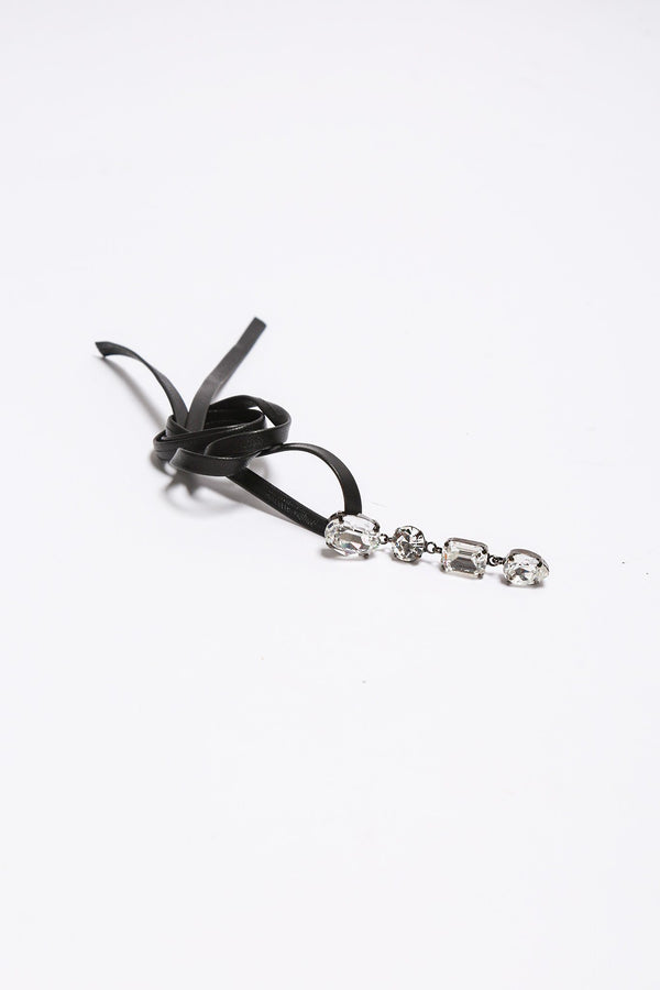 Joomi Lim Black Leather Choker, Crystal Charm Dangle Jewelry