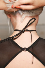 Joomi Lim Leather Choker with Statement Crystal Charm