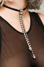 Leather Choker with Statement Crystal Charm