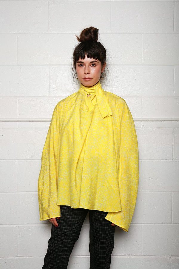 Lemaire Long Sleeve Blouse with Tie, Lemon Yellow + Chalk Tops