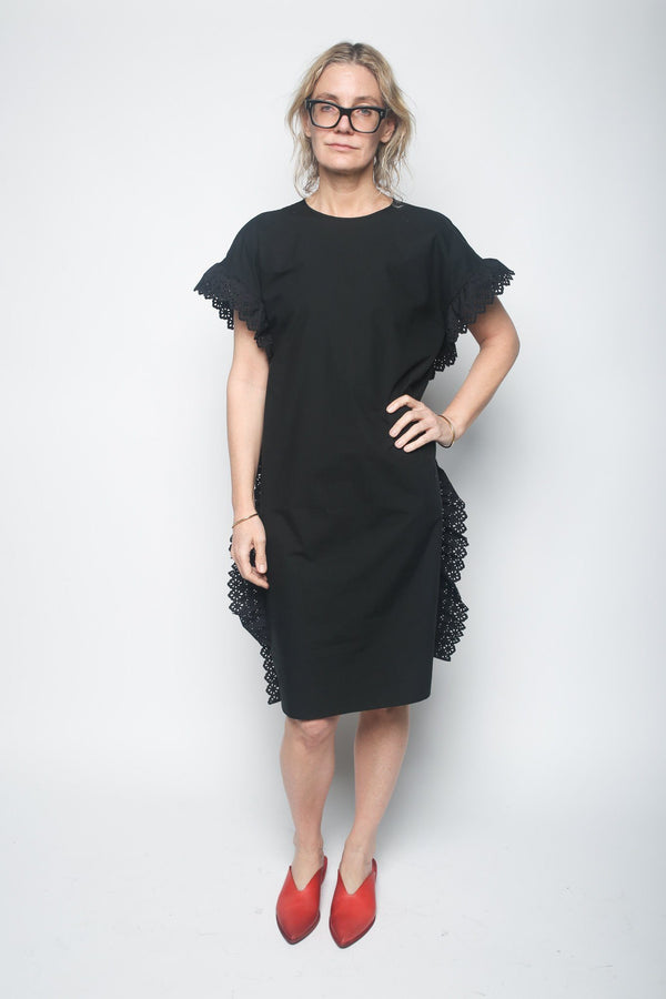 Leur Logette Side Frill Dress, Black Dresses