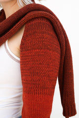 Lorod Hand Knit Scarf Chap, Rust Accessories