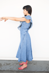 Lorod Patchwork Dress in Denim, Indigo Dresses + Jumpsuits