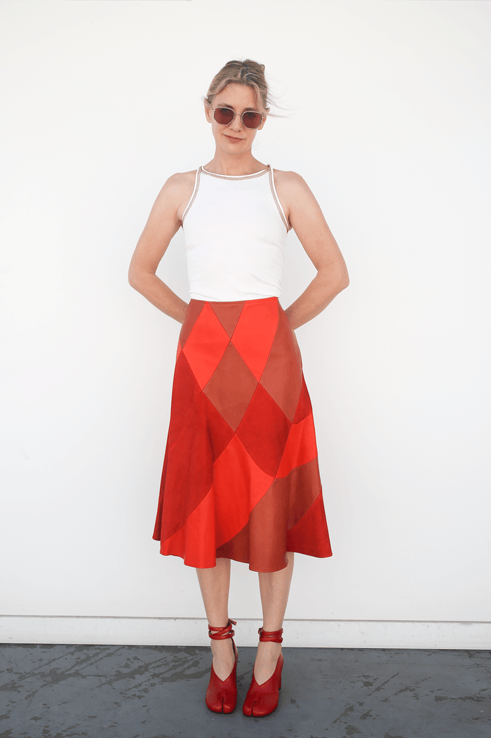 Patchwork Skirt in Horween + Suede, Rust / Burnt Orange