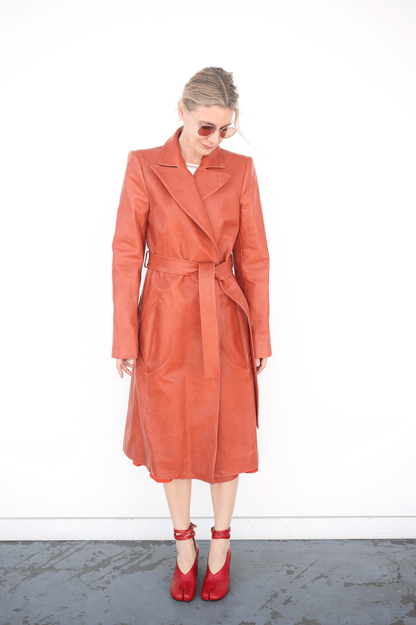 Lorod Long Coat in Horween Leather, Rust Jackets + Coats