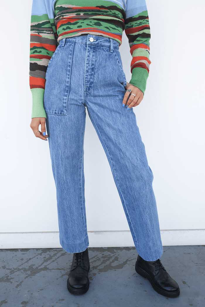 Lorod Relaxed Trouser in Denim, Indigo Bottoms