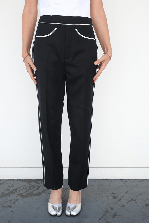 Lorod Slim Riding Trouser In Wool Twill Suiting, Black + White Bottoms