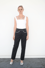 Slim Riding Trouser In Wool Twill Suiting, Black + White