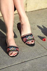 Tabitha Simmons Sprinkles Fest Sandals, Black / Multi Flats