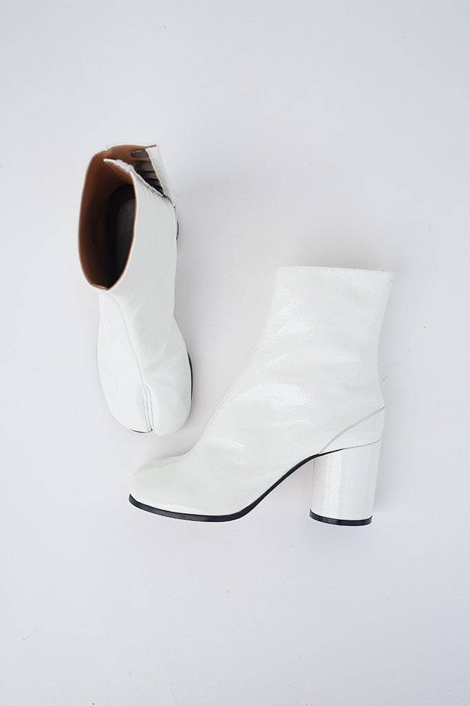 Patent Leather Tabi Boot, White