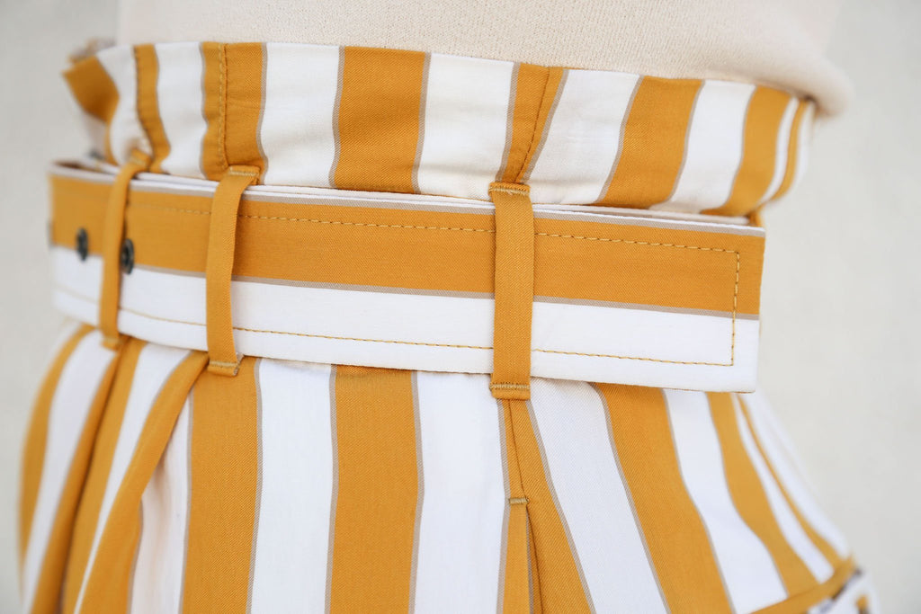 Stripe Trouser, White + Yellow