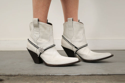 Sale Quotests Maison Margiela Ankle Boots White Textured leather