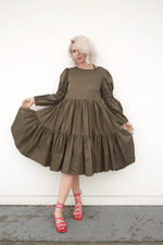 Gathered Tiered Dress w/ Puffed Sleeve, Olive, Dresses + Jumpsuits, Molly Goddard, Mona Moore