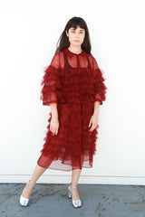 Kizzy Fully Frilled Coat with Pockets, Burgundy, Dresses + Jumpsuits, Molly Goddard, Mona Moore