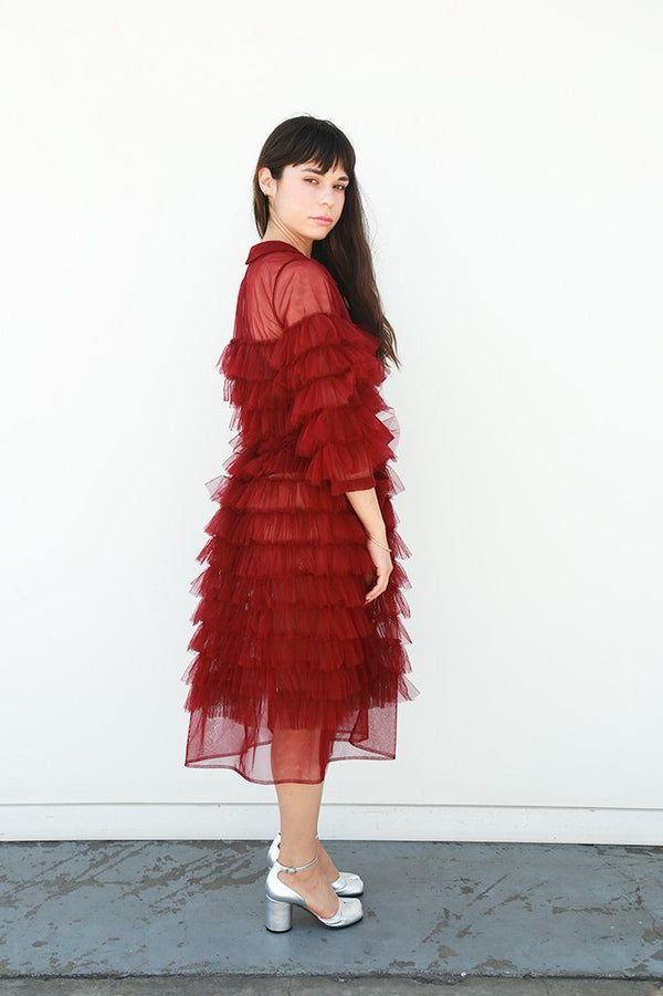 Molly Goddard Kizzy Fully Frilled Coat with Pockets, Burgundy Dresses + Jumpsuits