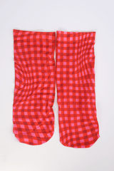 Printed Socks, Pink Gingham
