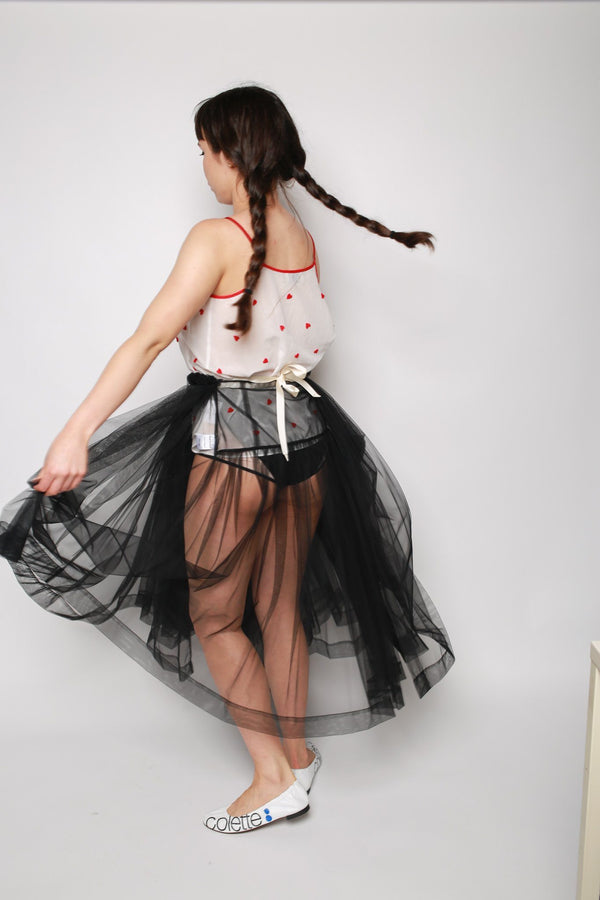 Molly Goddard August Tulle Wrap Apron Skirt, Black Bottoms