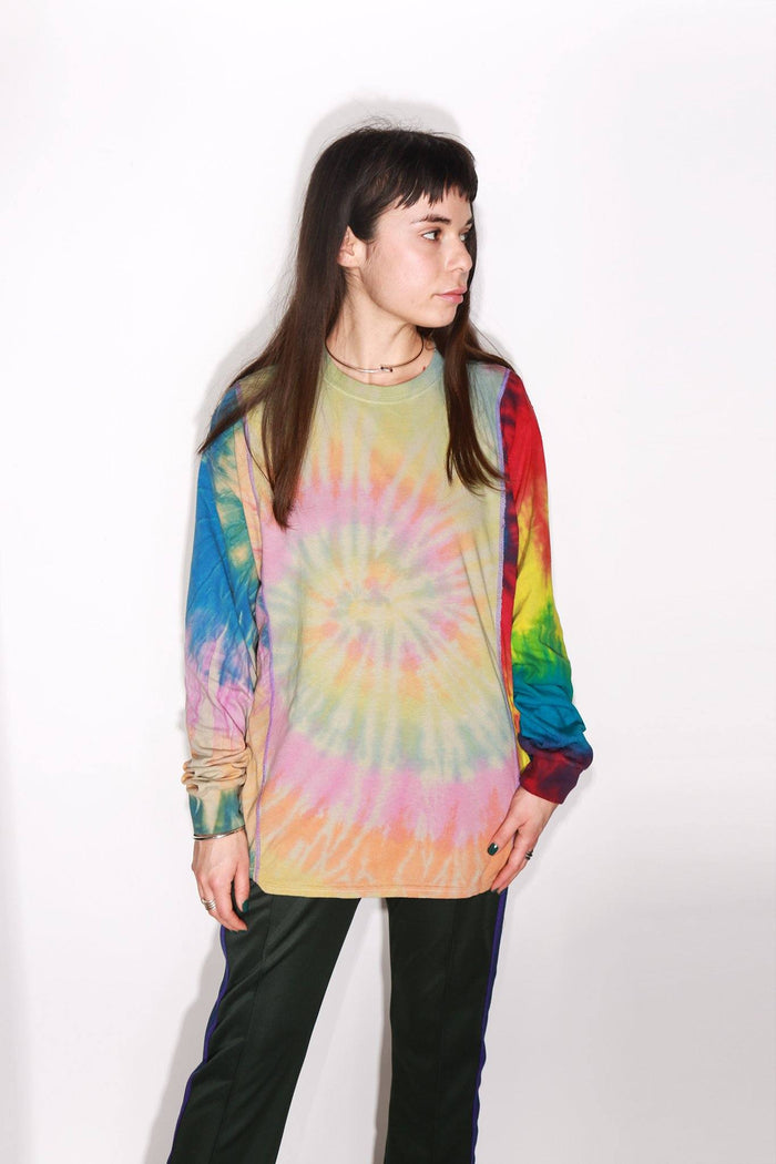5 Cut Long Sleeve Tie Dye Tee, Multicolor