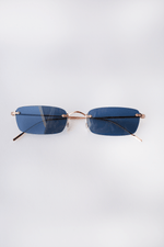 Daveigh, Rose Gold + Blue Glass, Sunglasses, Oliver Peoples, Mona Moore - Mona Moore