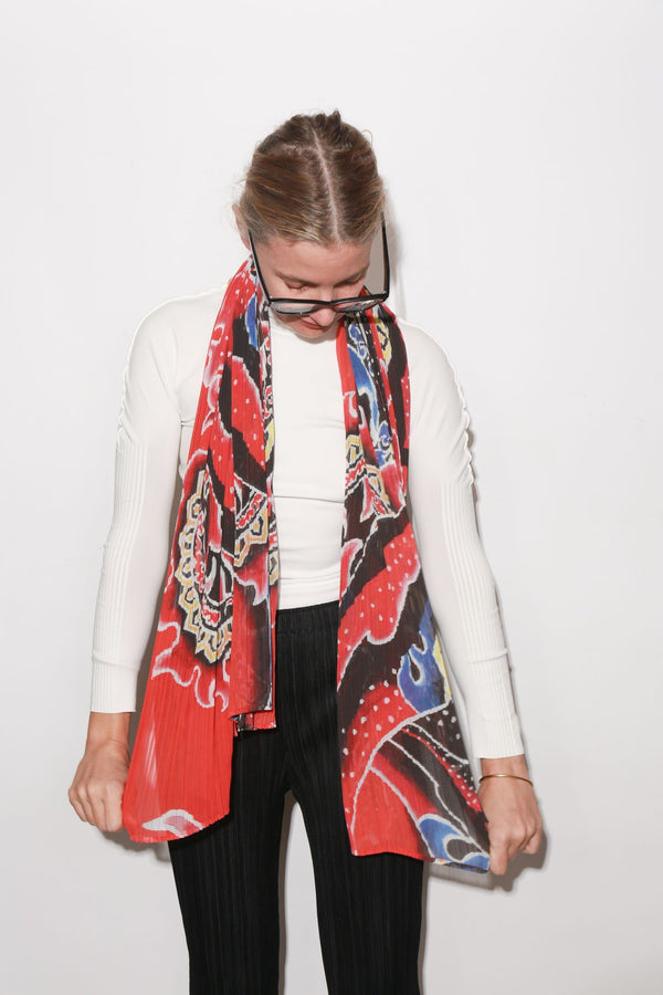 Issey Miyake Flame Madame-T Stole, Red Multicolor Tops