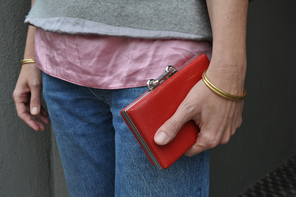 Balenziaga Red Lizard Box Clutch, Main