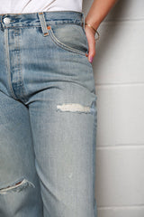 High Rise Stovepipe Distressed Jeans, Indigo, Bottoms, RE/DONE, Mona Moore