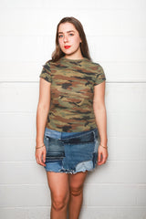 RE/DONE l Women's Slim Tee, Camo l Tops