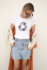 "Slim ""Recycle"" Graphic Tee, Optic White, Tops, RE/DONE, Mona Moore - Mona Moore"