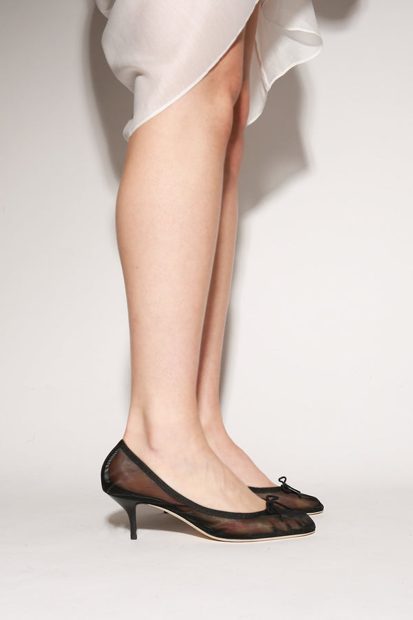 Repetto Gisel Ballerina Pump, Black Mesh Heels