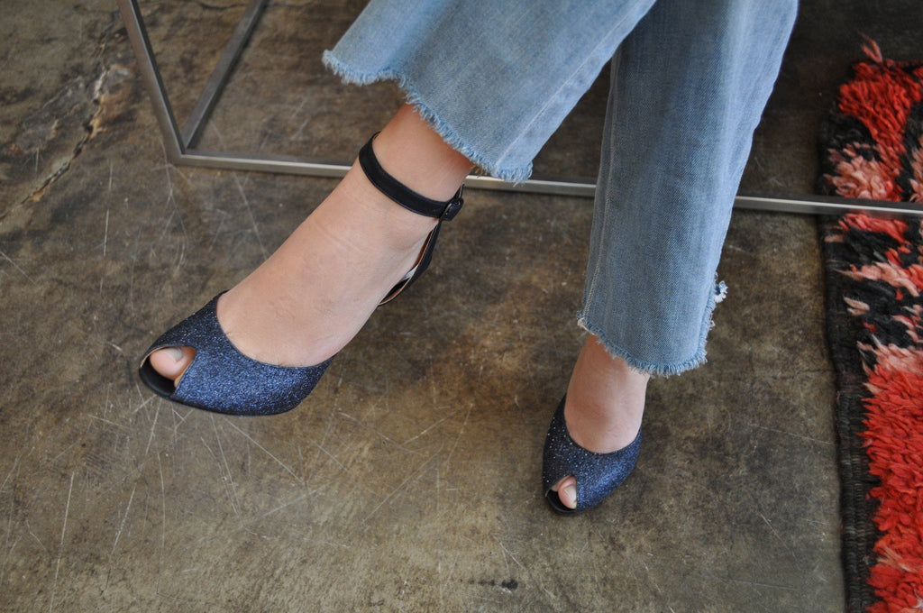 Last Pair 36 Replica Spike Heel Mule in Glitter, Payne's Gray