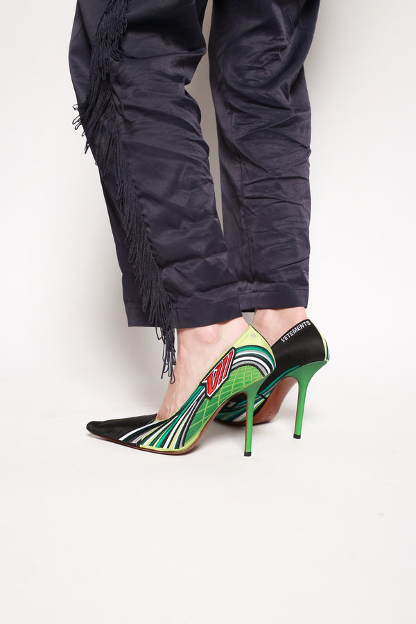 Vetements Size 41, Embroidered Race Pumps, Green Heels