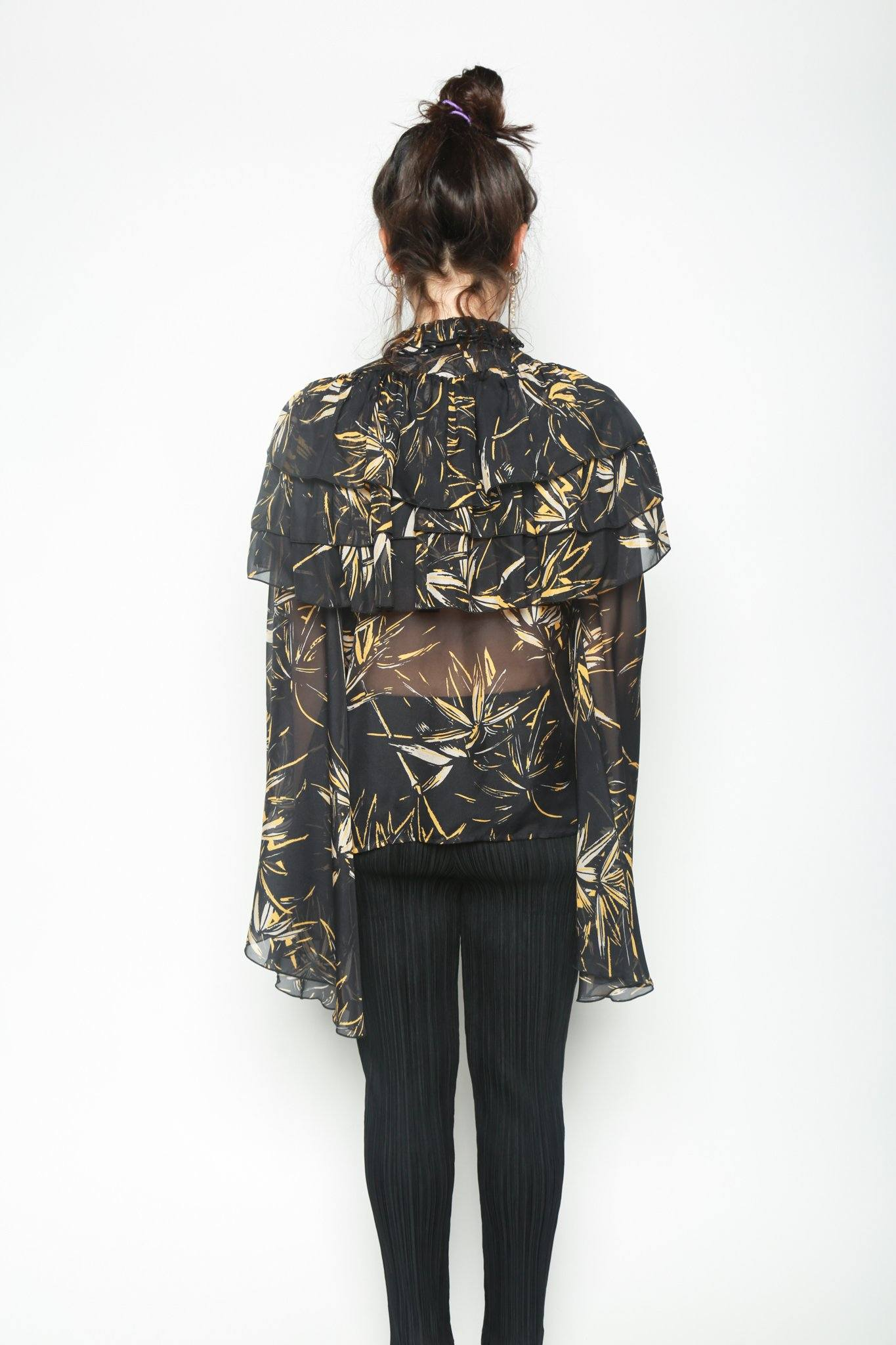 Palm Printed Silk Chiffon Long Sleeve Blouse, Black + Yellow