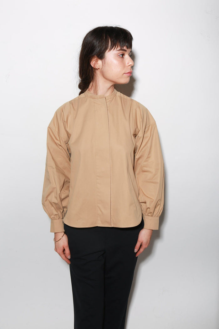 ARCH THE Long Sleeve Cotton Blouse, Camel Tops