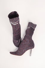 Lighter Lurex Sock Boots, Purple + Silver, Heels, Vetements, Mona Moore