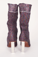 Vetements Lighter Lurex Sock Boots, Purple + Silver Heels