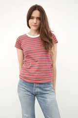 Visvim Short Sleeved Tight Border Tee, Burgundy Striped T-Shirt Top Japanese Designer