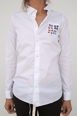 Visvim V+V B.D. Shirt, White + Floral Stencil Multicolor Blouse Button Up Top Japanese Designer