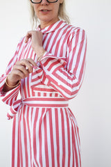 Cillene Long Sleeve Collared Shirt Dress, White + Red, Dresses + Jumpsuits, Vivetta, Mona Moore
