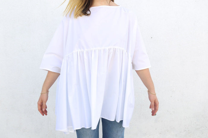 Sparta Wide Blouse with Flounce, White, Tops, Vivetta, Mona Moore - Mona Moore