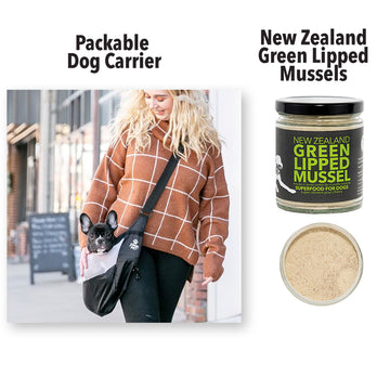 Packable Dog Carrier and Green Lippe Mussels