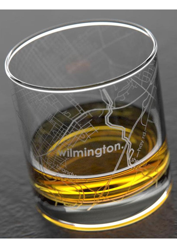 Wilmington DE Map Rocks Whiskey Glass