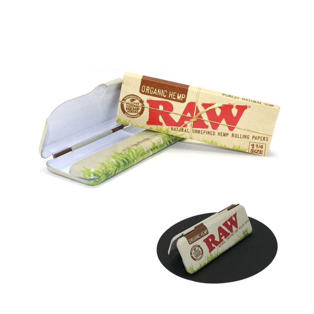 RAW Unrefined Organic Hemp Papers 1-1/4 with Matching Metal Case