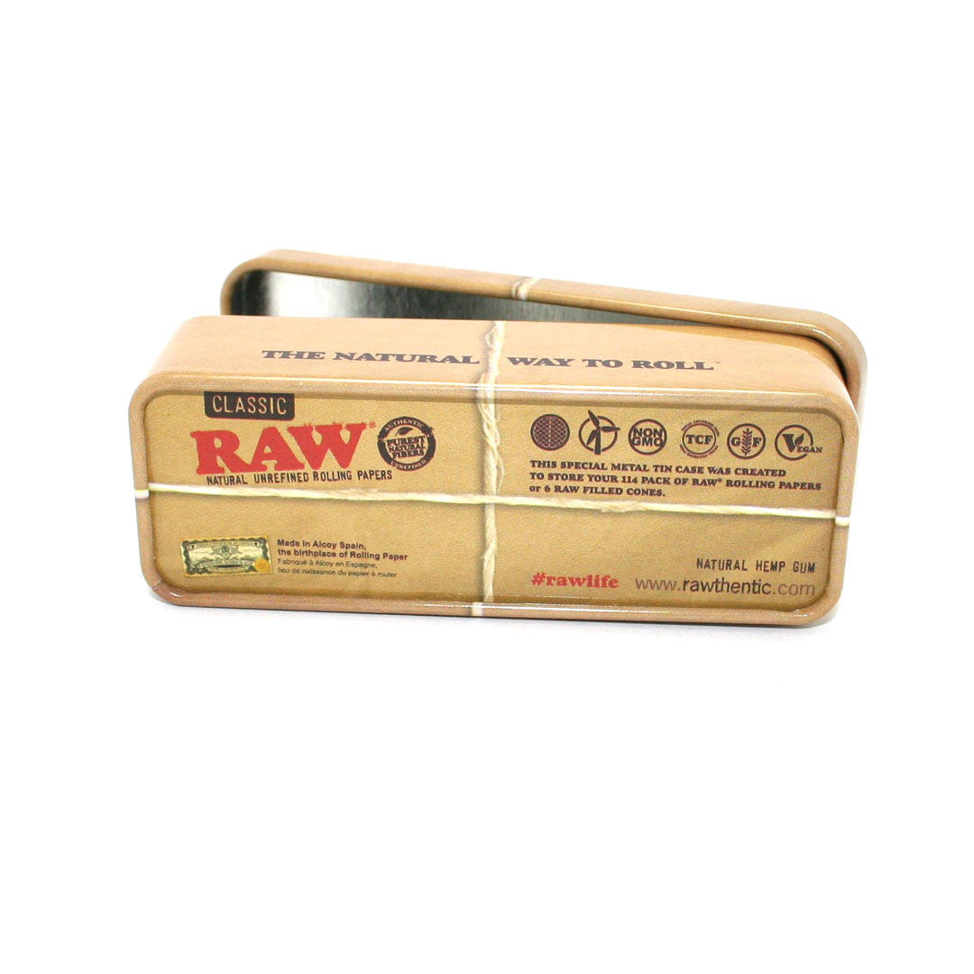 "RAW Unrefined Classic Hemp Papers 1-1/4 (3 packs) with ""Roll Caddy"" Metal Case"