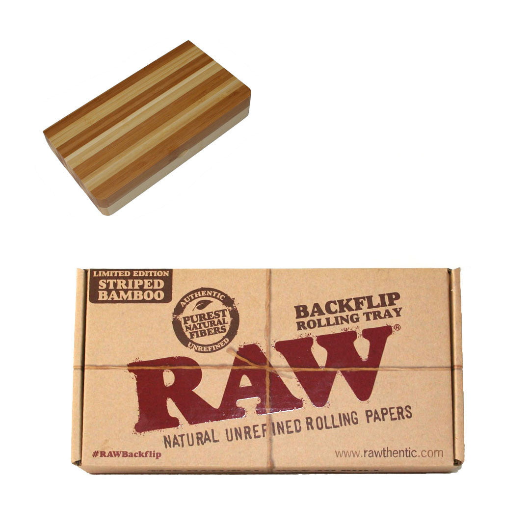 RAW Rolling Tray - Striped Bamboo Backflip Magnetic tray