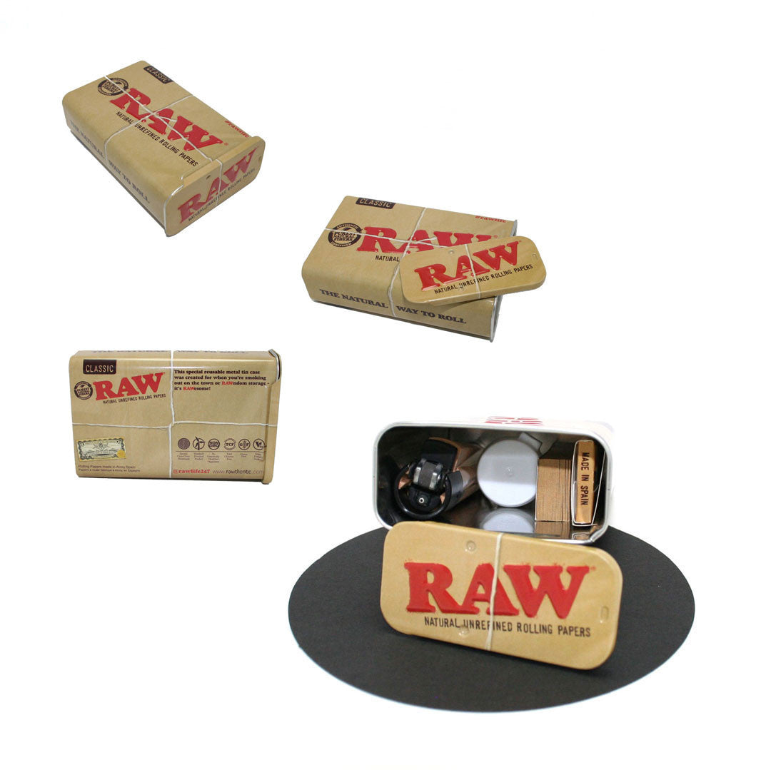 RAW Natural Lifestyle Slide Top Metal Case Portable Kit